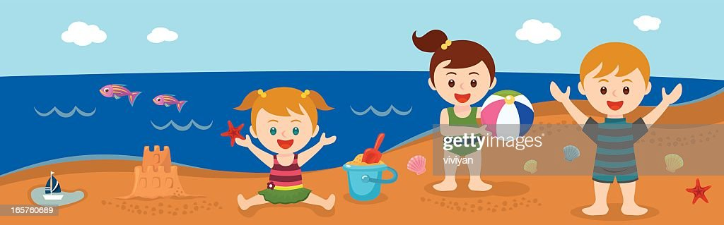 Kids On The Beach In Summer Vector Art | Getty Images