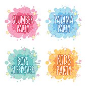 Kids party logo. Four badges for kids party in the spot shape. Vector clip art illustration on a white background.