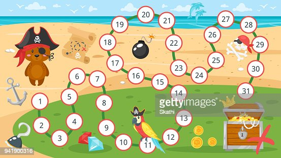 Kinder Piraten Brettspiel Vorlage Vektorgrafik Thinkstock