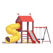 Kids playground equipment with swings, slides and tube isolated on white background. Modern flat style vector illustration cartoon clipart.