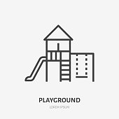 Kids playground flat line icon. Vector thin sign of park infrastructure, kindergarten logo. Outdoor activity illustration.