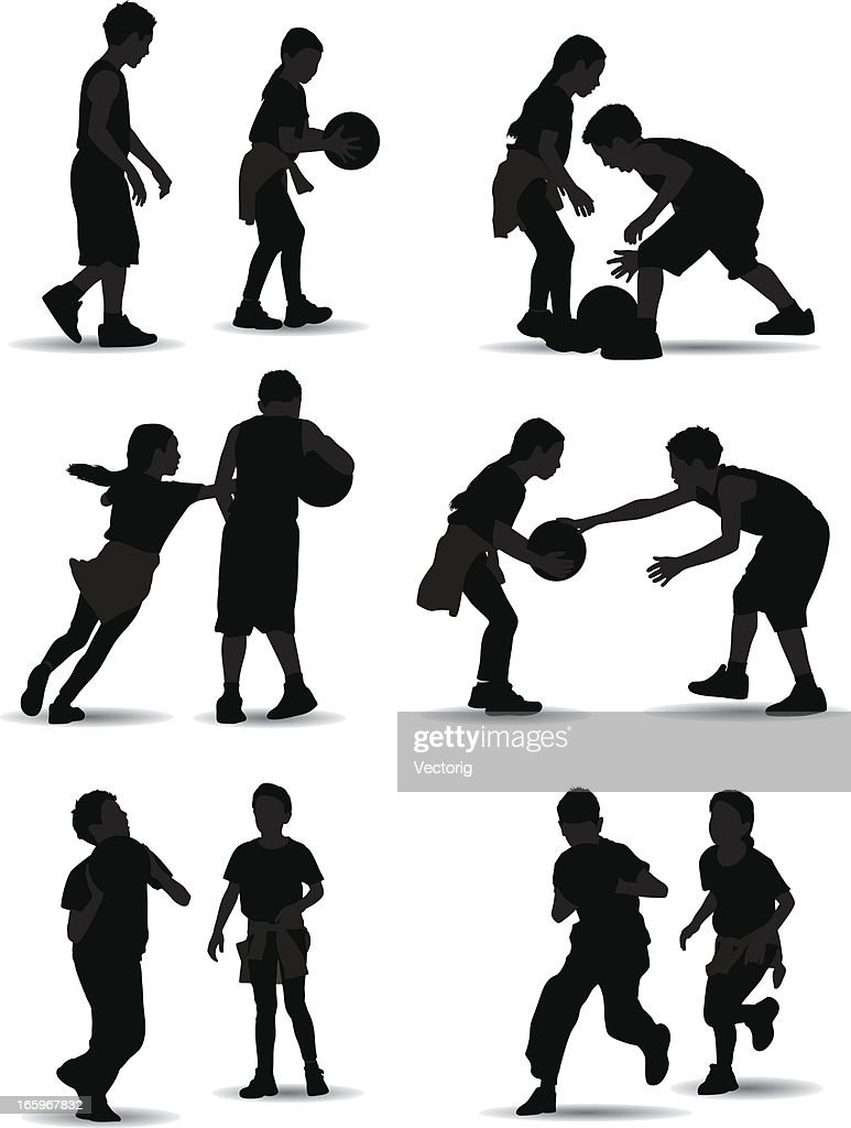kids playing basketball vector art getty images