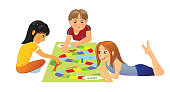 Kids sitting on the floor and playing board game, vector illustration