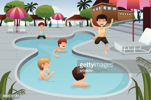 Kids Playing In An Outdoor Swimming Pool Vector Art Thinkstock
