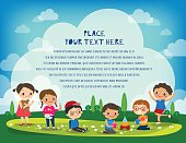kids playing in the park vector cartoon illustration