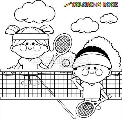 Niños Jugando Al Tenis En La Cancha De Tenis Libro Para Colorear ...