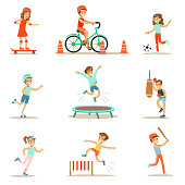 Kids Practicing Different Sports And Physical Activities In Physical Education Class Gym And Outdoors. Children Playing Football, Baseball, Riding Bicycle And Boxing. Sportive Teenagers Happy To Do Sp