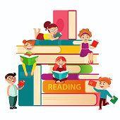 Kids reading on the big stack of books vector flat illustration. Small children around books infographic elements on white background. Children at the library