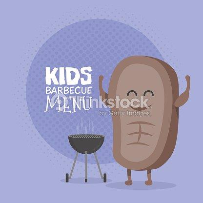 Kids Restaurant Menu Cardboard Character Funny Cute Cartoon Steak Barbecue Vector Art
