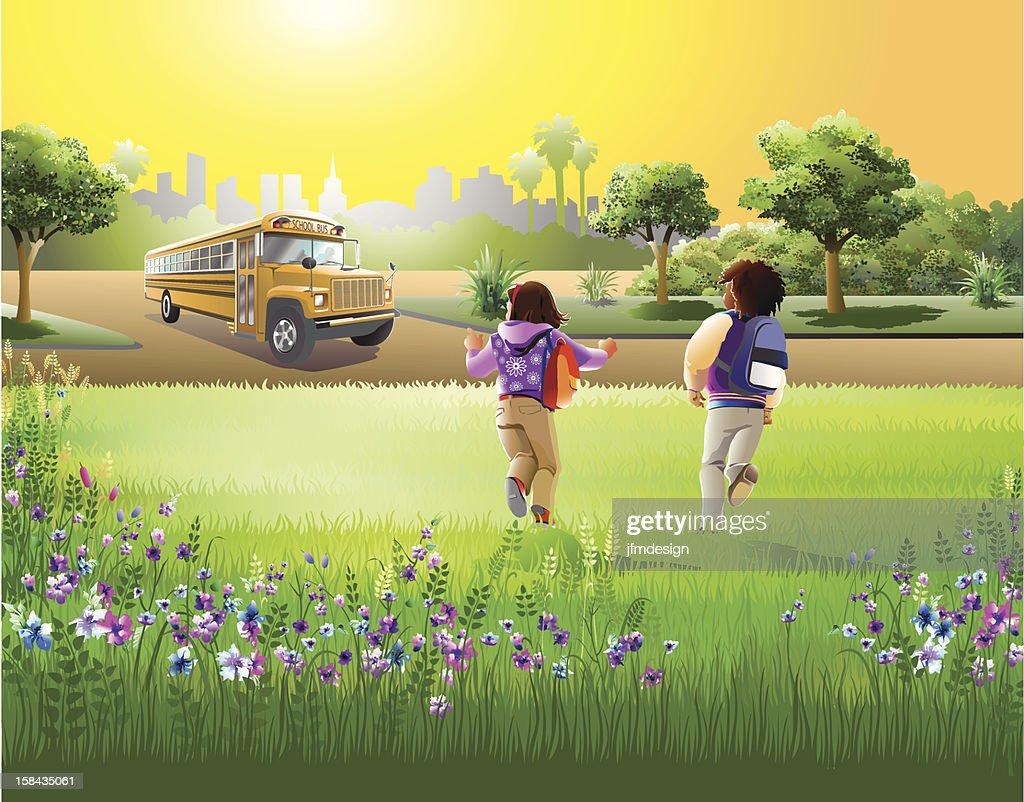 kids running to parked school bus : Vector Art