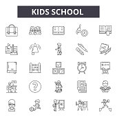 Kids school line icons, signs set, vector. Kids school outline concept illustration: school,education,book,kid,bus