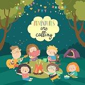 Kids sitting around bonfire and roasting marshmallows. Vector illustration