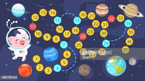 Kinder Space Brettspiel Vorlage Vektorgrafik Thinkstock