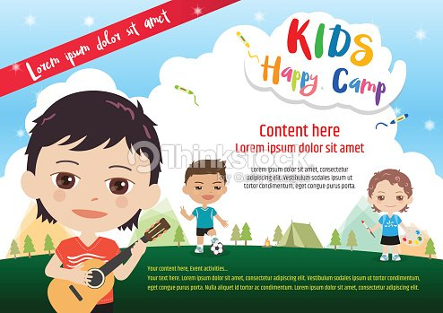 kids summer camp poster or banner template in cartoon style ベクトル