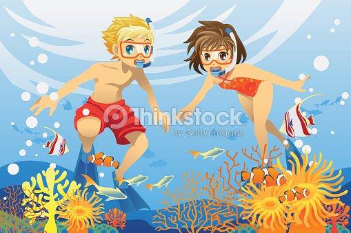 kids swimming underwater vector art - Kids Swimming Underwater