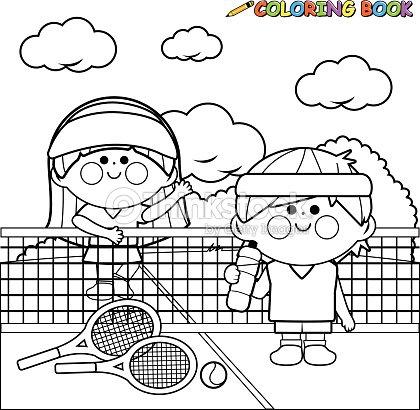 Niños De Jugadores De Tenis En La Cancha De Tenis Libro Para ...