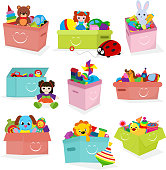 Kids toys box vector baby container with toyshop teddy bear play in babyroom boxes set illustration isolated on white background.