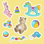 Kids toys cartoon style colorful vector sticker set.