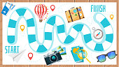 Vector cartoon style illustration of kids travel and tourism board game template. For print. Horizontal composition with journey icons. Wooden background.