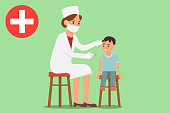 Kids vaccination poster illustrated how medical staff vaccinates young patients in clinic. The doctor sits on a chair and makes an injection to the child. Vector illustration.