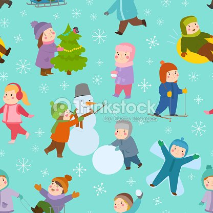 Kids winter Christmas games playground children playing sport games of kinds snowball, skating, kiddy holidays seamless pattern background