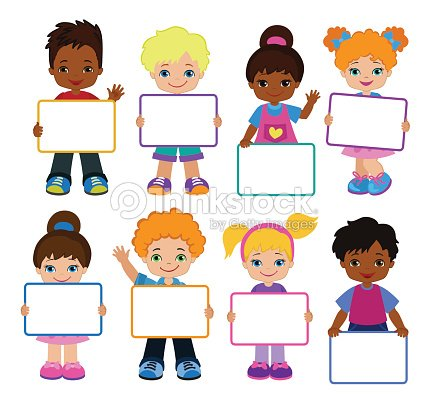 Kids With Signs Bricht Kids Frame Board Clipart Child Meeting Frame ...