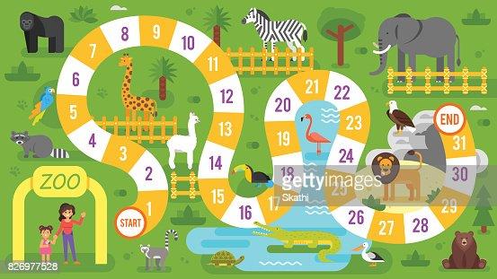 Kinder Zoo Tiere Brettspiel Vorlage Vektorgrafik Thinkstock