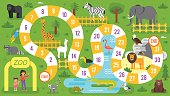 Vector flat style illustration of kids zoo animals board game template. For print.