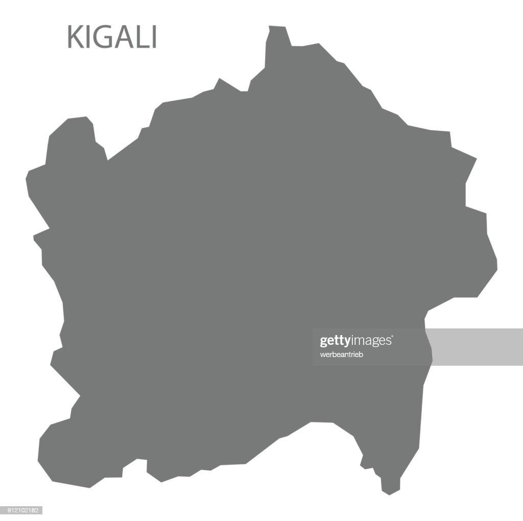 Kigali Map Of Rwanda Grey Illustration Silhouette Shape Vector Art