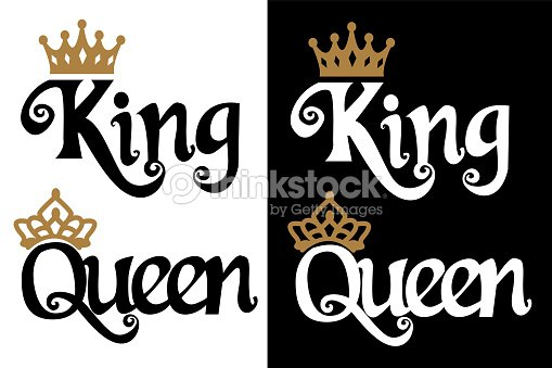 King And Queen Couple Design Black Text And Gold Crown Isolated On
