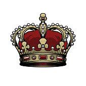 King crown. Vintage, heraldic imperial sign Color option