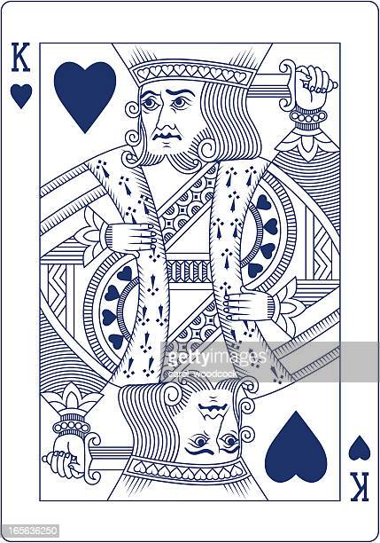 King of Hearts playing card in blue line