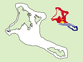 Kiribati map with national flag decoration