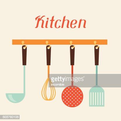 Kitchen Utensils Art kitchen and restaurant utensils spatula whisk strainer spoon