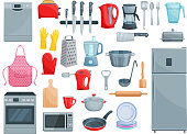 Kitchen utensil, kitchenware and home appliances icons. Vector set of refrigerator, dishwasher or microwave oven and mixer, grater or frying pan and saucepan, dishware ladle spoon and rolling pin