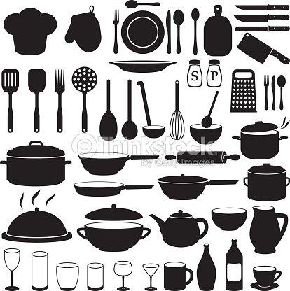 Kitchen cooking icons set vector art thinkstock for Elementos de cocina para chef