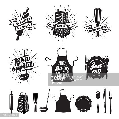 Cuisine cuisson impressions ensemble. Illustration de vintage Vector. : clipart vectoriel