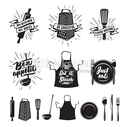 Küche kochen Drucke eingestellt. Vintage Vektorgrafik. : Vektorgrafik