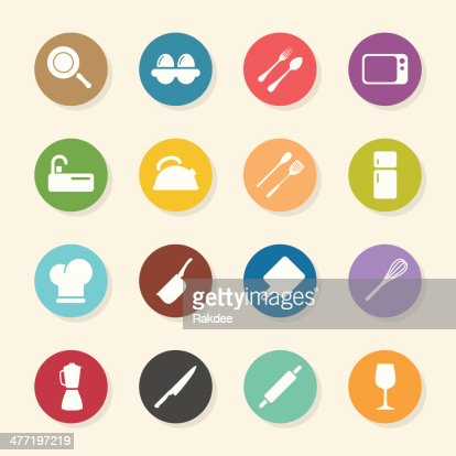 kitchen design icons color circle series vector art | getty images