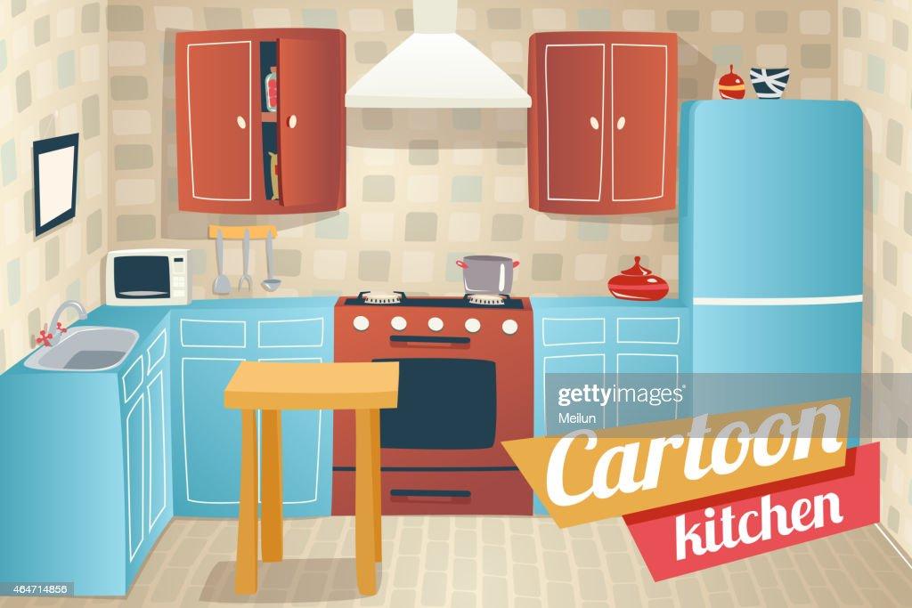 muebles y accesorios de cocina interior de apartamento de historieta retro vintage house arte vectorial