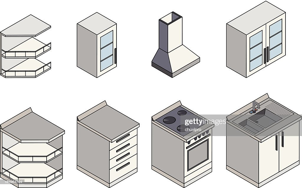 kitchen furnitures isometric vector art getty images