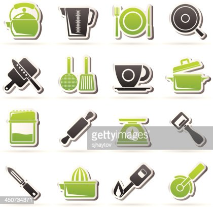 kitchen gadgets and equipment icons : Vector Art