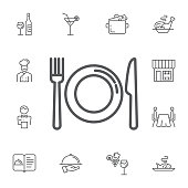 kitchen icon of dish, fork and knife on the white background. Simple Set of restaurant Vector Line Icons.