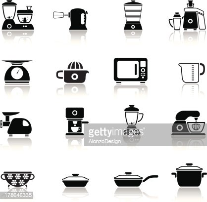 Kitchen icons set vector art getty images for Kitchen set vector