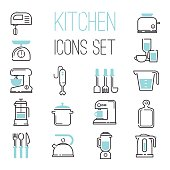Kitchen and cooking icons white. Vector illustration kitchen icons appliances for cooking. Kitchen icons electronic appliances, cook, whisk, mix until. Coffee and tea preparation.