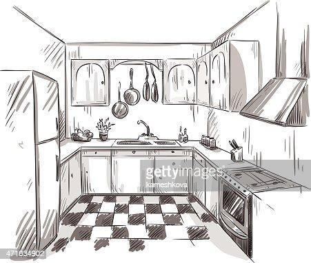 Kitchen Interior Drawing Vector Illustration Vector Art | Thinkstock