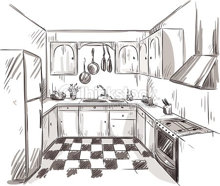 Kitchen interior drawing vector illustration vector art thinkstock - Croquis de cocinas ...