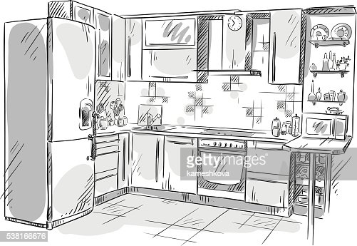 Kitchen Interior Drawing Vector Illustration Vector Art Thinkstock