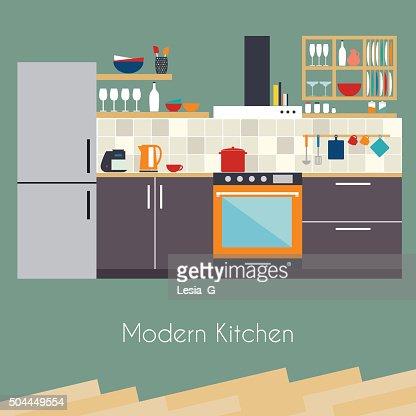 Kitchen Interior Flat Design Kitchen Concept Kitchen Equipmen Vector