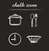 Kitchen items chalk icons set. Vector. Stewpan, fork and spoon, clock, sieve